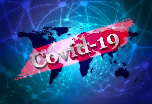 Coronavirus update world with Covid 19 banner